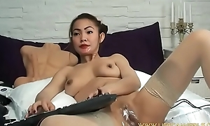 Japanese mad Milf makes deep anal fisting by thrusting both hands into it. www.lifecamgirls.com