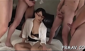 Charming japanese playgirl tames a awning pecker with blowjob