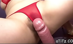 Alluring oriental tames fellow with titty fuck at near bathroom sex