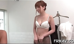 Comely japanese babe fingers added to toys will not hear of XXX beaver
