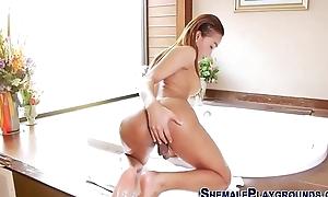 Bathing asian tgirl cums