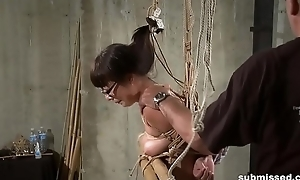 Hogtied Asian mature gets tits and pussy tortured hard