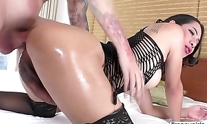 Hot TS Maple receives her ass bangs by Asians cock