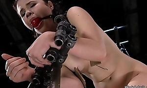 Hairy Asian in device bondage glistening