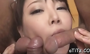 Japanese chick with hot knockers arouses with oral-sex added to titty fuck