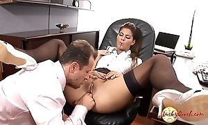 Girly house maid enjoys to be enticed then get cunt licked&amp_ pounded strong by monstrous hard on