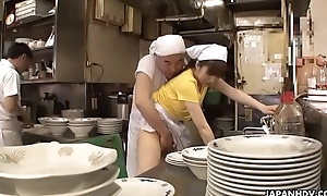 Japanese waitress Mimi Asuka gets finger fucked in the snack bar
