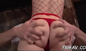 Sweet oriental receives perverted sexual connection toying for the brush moist snatch