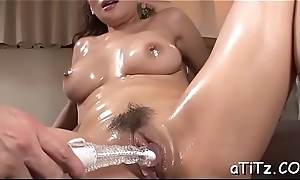 Cute japanese with sexy whoppers masturbates irresponsibly with toys