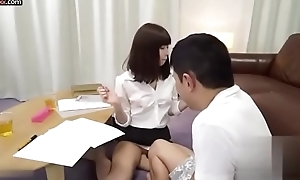 Downcast Japanese private teacher assists their way student with sex miscellany