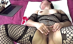 Oriental MILF - Pussy Playing While Watching Porn in Black Stockings