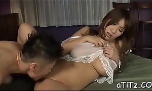 Pretty oriental with superb boobs entices with wet blowbang