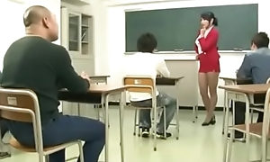 Japanese Teacher drilled by students