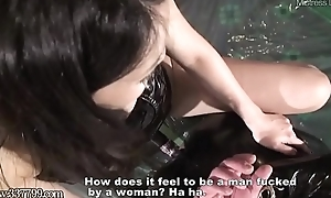 Japanese Bit of skirt Saran Strapon Fucks Slave