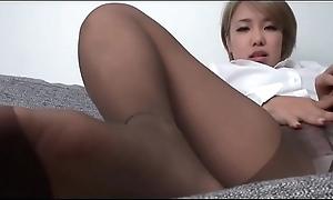 Oriental Teen - Feet teasing in brown hose - watch with regard to asian feet on SweetNylonFeet.com