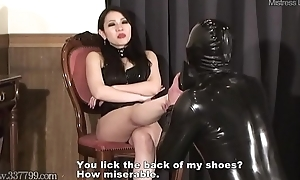 Japanese Femdom Saran Foot Fetish with the addition of Strapon