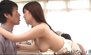 Asian beauty deepthroats cock while she gets their way bushy pussy teased