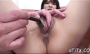 Breasty asian charms a long pecker around soaked engulfing