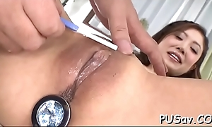 Twosome males devour youthful chick pussy finger bonking and engulfing cock