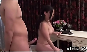 Smile radiantly is ravishing japanese babe'_s perky large tits lecherously