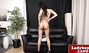 Bigtits ladyboy wanks added to teases sensually
