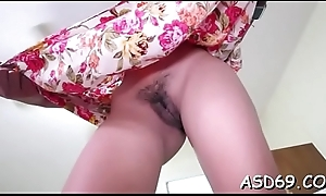 10-pounder loving oriental cutie licks and sucks a massive ramrod