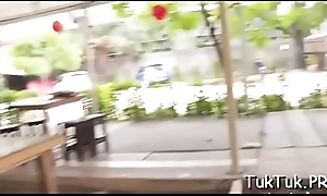 Playful oriental bitch jumps on a guy'_s weenie without limits