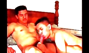 Three randy gay dudes suck and have a passion in bed