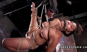 Tied up Asian slave gets vibrated