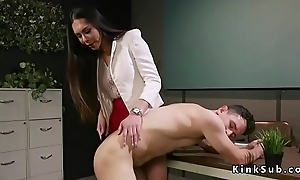 Busty Oriental tranny doctor bangs dude