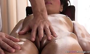 Horny girl gives put emphasize masseur a blowjob