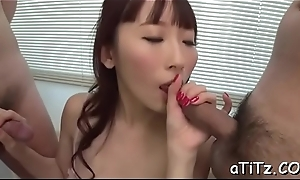 Herculean tits oriental thrills four exacting knobs with blowjob