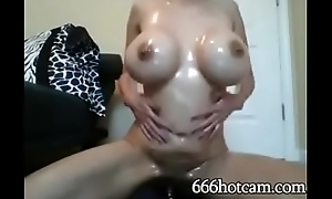 Asian MILF Oils up &amp_ Rides Dildo exceeding Cam - 666hotcam.com