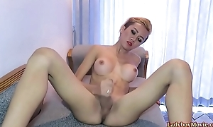 Ladyboy Dow Strokes Her Dick