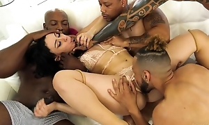 BBC loving nympho gets gangbanged in the living room