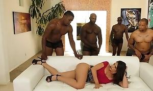 Young latin chick less pierced nipples enjoys interracial bang