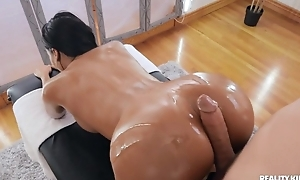 Tanned incomprehensible with fake tits banged by her masseur