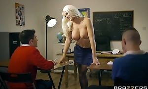 Bosomed teacher in black stocking seduced two skinny boys