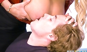 Brazzers teacher with titanic tits plus nuisance rides student on her desk