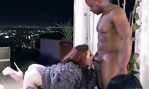 Slim redhead girl in high heels shagged by horny black man