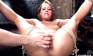 Submissive trainee with inept tits gets her butthole rammed