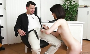 Dark-haired cutie in na‹ve tits does anal in a great pleasure