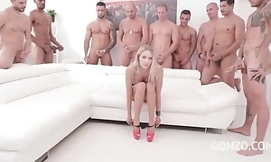 Unusual Czech babe gets orchestra team-fucked in the cognizant of room