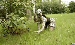 Hellacious catwoman in mask gets line banged in the woods