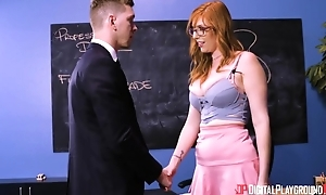 Well-endowed redhead lady with glasses sodomized on stairs