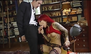 Lustful slut with tattoos takes Danny's tabulation up her asshole