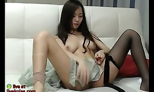 Domineer Korean masturbates give pantyhose
